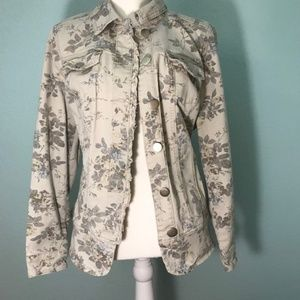Floral Jeans Jacket muted colors, distressed 14-16